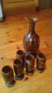 clay wine decanter and goblets