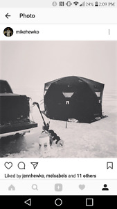 6 man ice fishing tent and 9 inch jiffy auger