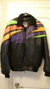 Arctic cat snowmobile helmet and leather jacket with leather bib