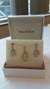 Lady's 14 kt. Rose and White gold Diamond Pendant with matching