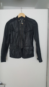 Genuine Leather Jacket (black) - Veston en cuir veritable