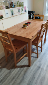 Ikea solid pine table & 3 chairs