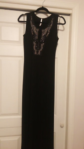 Women's black floor length fitted dress size small