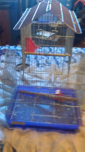 Bird cage and hamster cage.