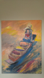Painting oil on canvas vegetable vendor on boat