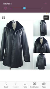 Nuage Women Sz S Faux Leather Hooded Jacket Coat S