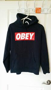 Men's Vintage OBEY Classic Big Box Logo Black Hoodie MEDIUM