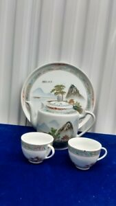 Old Chinese Hand Painted Scenery  Porcelain Teapot Set