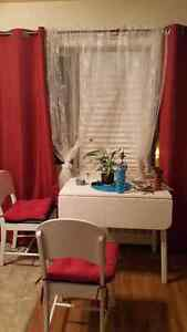 Vintage white folding table with chairs