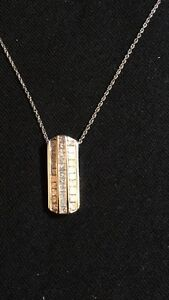 NEW PRINCESS CUT DIAMOND AND WHITE GOLD NECKLACE