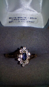 Real Saphire and Real Diamonds 10k Gold Ring Womens Size 10
