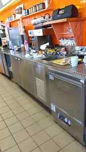 12' stainless steel counter with Hobart dishwasher