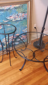 PIER 1 Wrought Iron Glass COFFEE & SIDE Table