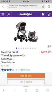 Evenflo pivot travel system stroller and carseat