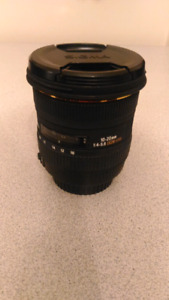 Sigma 10 - 20 mm zoom lens.  F 4 - 5.6 EF Mount (Canon)