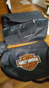 Harley accessories: lubricant; leather bags; gloves