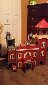 Firehouse and police station play house