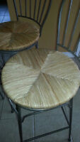 Set of 3 wicker and steel bar stools
