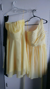 Two brand new- never worn daffodil yellow bridesmaid dresses