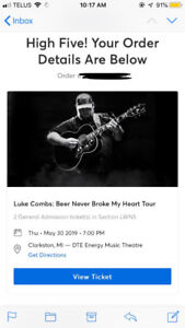 2 Luke Combs Tickets - May 30th DTE Energy Music Theatre