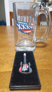 Super Bowl XXXVI beer glass and guitar pin