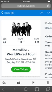 2 Metallica tickets for sale Saskatoon!