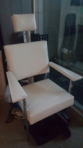 awesome unique white leather & chrome dental/medical chair
