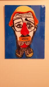 Cadre de peinture de clown coloré  sur plastique acrylique