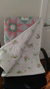 "Vintage Hand Stitched Quilt.  Approx.  87"" x 153""  (220 x 390 cm"