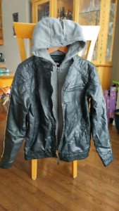 Boys black faux leather spring jacket size large