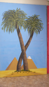 Palm Trees & Pyramid Canvas Background