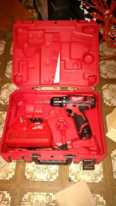"Milwaukee 12 v drill // 6"" bench grinder // motor oil"