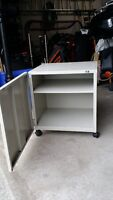 Small moveable metal storage cabinet