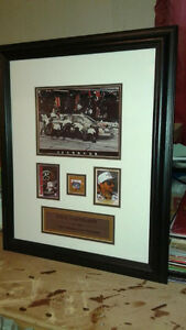 Dale Earnhardt Framed Photos w/ collectible cards and metal pin.