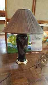"""Large vintage black glass lamp with flower ornament 28"""" tall West Island Greater Montréal image 1"""
