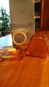 Rustic Villa glass shade and tray candle holder by Partylite (re
