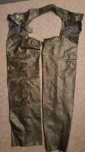Genuine Leather Motorcycle Chaps - XXL