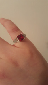 Ruby Sterling Silver Ring Size 5