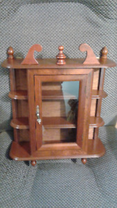 vintage wood (miniatures) display cabinet glass door