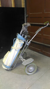ANTIQUE Golf bag/ clubs / wheelcart
