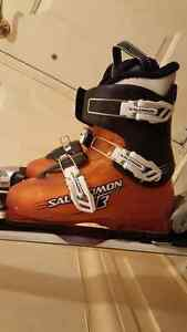 Youth Techno Pro Skis 120cm & Salomon Boots size 24 (used) Peterborough Peterborough Area image 2