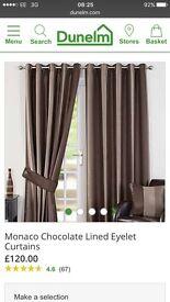Monaco chocolate curtains £30 ono
