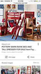 Red Kendall pottery barn single over full bunk bed. Kitchener / Waterloo Kitchener Area image 1
