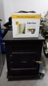 Pellet stove with install kit