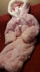 Wippette Kids Baby Girl Pram Snowsuit, Size 3/6mts, Soft Furry