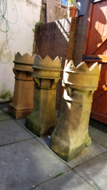 3x Large Victorian chimney pots (nearly 1 metre tall). Crown tops