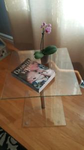 Glass side table.