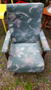 VINTAGE Small Child's Upholstered Rocking Chair
