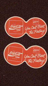 REDUCED -lot of 2:Coca Cola You Can't Beat the Feeling! Coasters