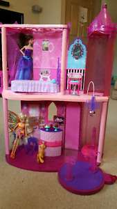 Barbie House, accessories and two barbies
